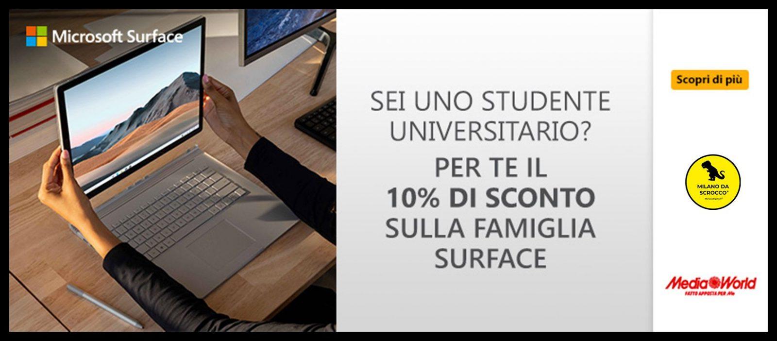 Mediaworld ha creato uno sconto per studenti universitari sui Microsoft Surface: ecco come usufruirne.